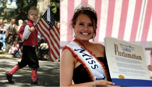 A young marcher (left) glancing towards the grandstand. Alexandra Brittany Hildreth was elected Miss Norway of Greater New York in 2007 at the 17th-of-May festivities in Bay Ridge.