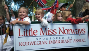 Joyous young Norwegian-American girls, competing in the Little Miss Norway competition aboard a float in the 2010 17th-of-May parade in Bay Ridge, Brooklyn.
